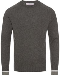 Orlebar Brown - Ethan Cashmere Grey Melange/rescue Red Classic-fit Crew-neck Jumper - Lyst