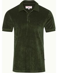 Orlebar Brown Dr No Towelling Polo 007 Seaweed Towelling Polo Shirt - Green