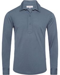 Orlebar Brown Sebastian Merino Shadow Grey Tailored Long Sleeve Polo - Gris