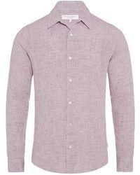 Orlebar Brown Morton Linen Leinenhemd Mit Körperbetonter Passform In Orchid - Purple