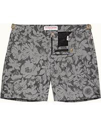 Orlebar Brown Bulldog X Black/grey Mid-length Floral Jacquard Swim Shorts