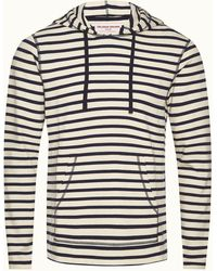 Orlebar Brown Navy/white Sand Stripe Overhead Hooded Sweatshirt - Blue