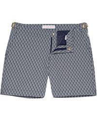 Orlebar Brown Navy/canvas Mid-length Swim Shorts - Blue