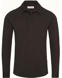 Orlebar Brown Dark Umber Tailored Fit Long Sleeve Polo Shirt - Black