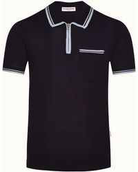 Orlebar Brown Navy Tailored Fit Merino Polo Shirt - Blue