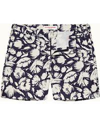 Orlebar Brown Navy/white Sand Mid-length Floral Swim Shorts - Blue
