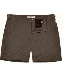 Orlebar Brown Maho Coconut/espresso Mid-length Jacquard Swim Shorts - Brown