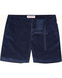 Orlebar Brown Navy Mid-length Corduroy Shorts - Blue