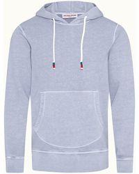 Orlebar Brown Vero Washed Capri Blue Classic Fit Hooded Sweatshirt