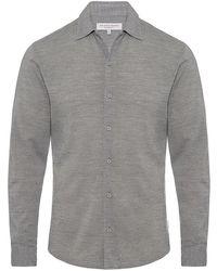 Orlebar Brown - Morton Merino Hemd Mit Körperbetonter Passform In Pale Grey Melange - Lyst