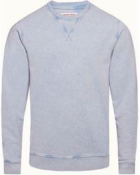 Orlebar Brown Washed Capri Blue Classic Fit Garment Dye Sweatshirt