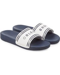 Orlebar Brown - Haddon White/navy Logo Slide Sandals - Lyst
