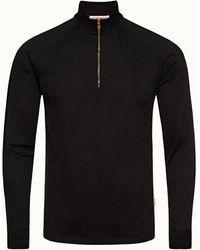 Orlebar Brown Corson Sea Island Black Half-zip Sea Island Cotton Sweatshirt