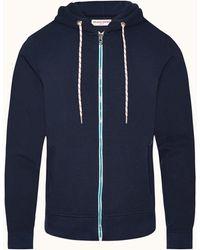 Orlebar Brown Navy Zip-thru Hooded Sweatshirt - Blue