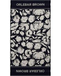 Orlebar Brown Seymour Navy/white Sand Floral Beach Towel - Blue
