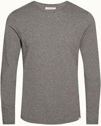 Orlebar Brown Storm Grey Melange Tailored Fit Cashmere & Cotton T-shirt