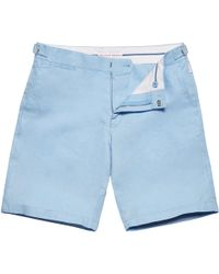 Orlebar Brown - Norwich Linen Powder Blue Tailored-fit Shorts - Lyst