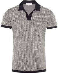 Orlebar Brown - Felix Jacquard Vintage-resort-polo Aus Pikee In Navy/cloud - Lyst