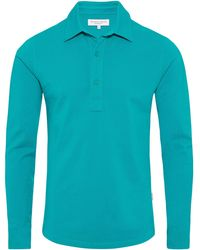 Orlebar Brown - Sebastian Scuba Blue Tailored Long Sleeve Polo - Lyst
