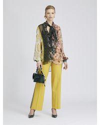 Oscar de la Renta Embroidered Stretch-wool Gabardine Pants - Multicolor