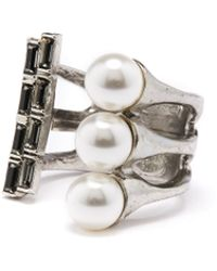 Oscar de la Renta - Pearl And Baguette Ring - Lyst