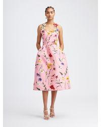Oscar de la Renta Fiore Faille Halter Dress - Pink