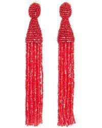 Oscar de la Renta - Scarlet Long Beaded Tassel Earrings - Lyst