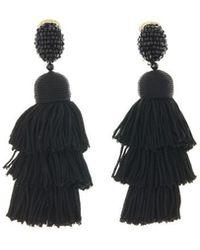 Oscar de la Renta | Long Silk Tiered Tassel Earrings | Lyst