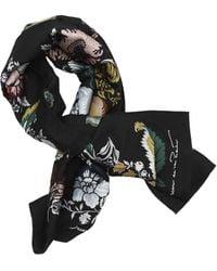 Oscar de la Renta Floral Wool-blend Scarf - Black