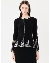 Oscar de la Renta - Embroidered Stretch-wool Crepe Jacket - Lyst