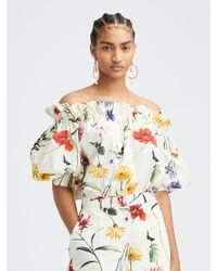 Oscar de la Renta Cotton Poplin Off Shoulder Blouse - Multicolor