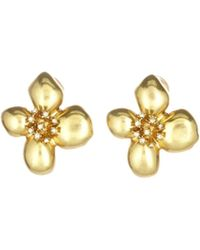 Oscar de la Renta - Grapefruit Flower Button Earrings - Lyst