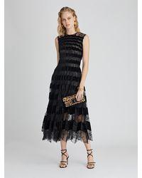 Oscar de la Renta Chantilly Floral Lace And Velvet Cocktail Dress - Black