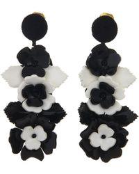 Oscar de la Renta - Black And White Climbing Flower Earrings - Lyst