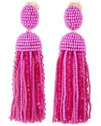 Oscar de la Renta - Short Bead And Silk Tassel Earrings - Lyst
