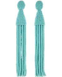 Oscar de la Renta - Aquamarine Classic Long Tassel Earrings - Lyst
