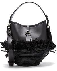 Oscar de la Renta Raffia Verdict Bucket Bag - Black
