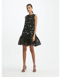 Oscar de la Renta Fil Coupé Drop Waist Dress - Black