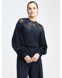Oscar de la Renta Embroidered Lace Blouse - Blue