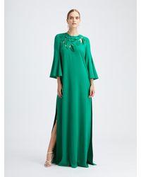 Oscar de la Renta Emerald Silk Crepe Caftan - Green