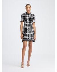 Oscar de la Renta Stretch Plaid Knit Dress - Black