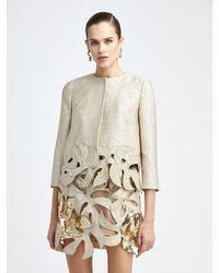 Oscar de la Renta Palm Leaf Sequin Tweed Jacket - Metallic
