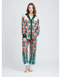 Oscar de la Renta - Tulip Fields Silk-twill Pyjama Trousers - Lyst