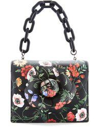 Oscar de la Renta Black Floral Print Mini Tro Bag