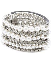 Oscar de la Renta - Pearl And Baguette Bracelet - Lyst