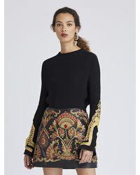 Oscar de la Renta Embroidered Merino Wool Pullover - Black