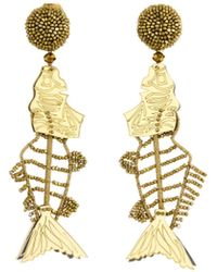 Oscar de la Renta - Black Scribble Beaded Fish Earrings - Lyst