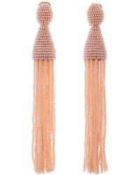 Oscar de la Renta - Anthracite Long Beaded Tassel Earrings - Lyst
