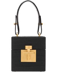 Oscar de la Renta Alibi Alligator Cube Bag - Black