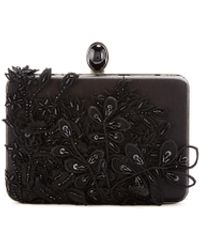 Oscar de la Renta Sequin-embroidered Silk Rogan Clutch - Black